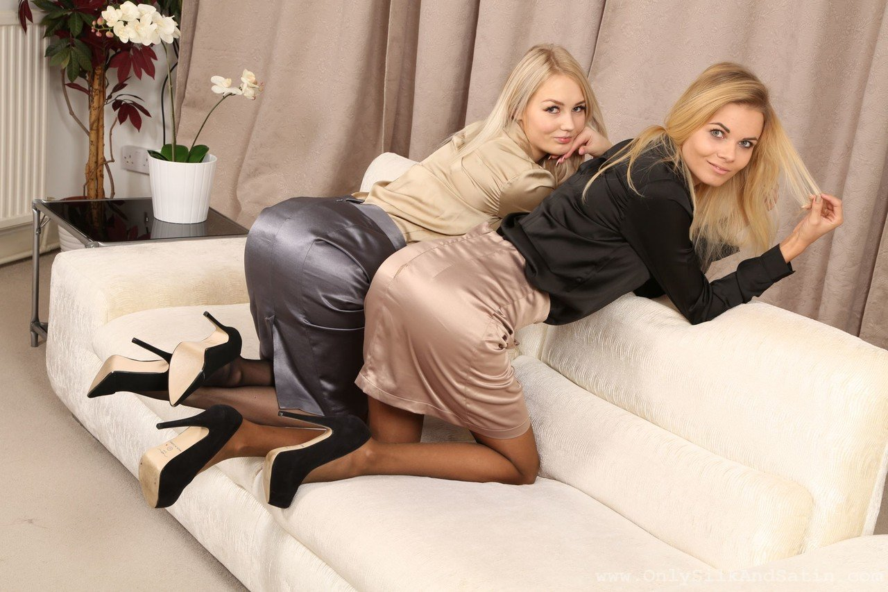 College blondes Sarka & Katy Jones go topless and pose in their sheer tights