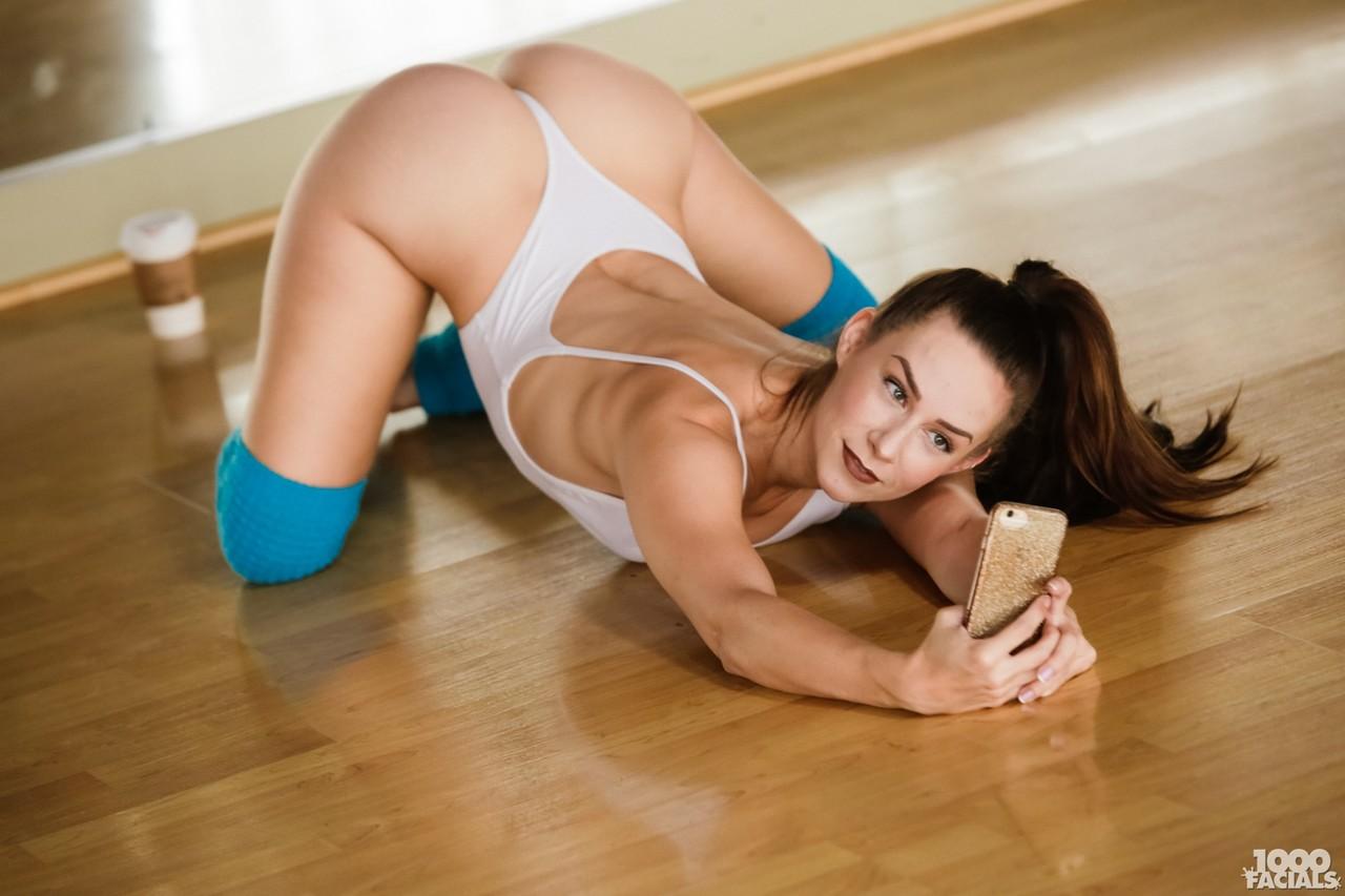 Flexible dancer Cassidy Klein sucks off a cock in over the knee socks