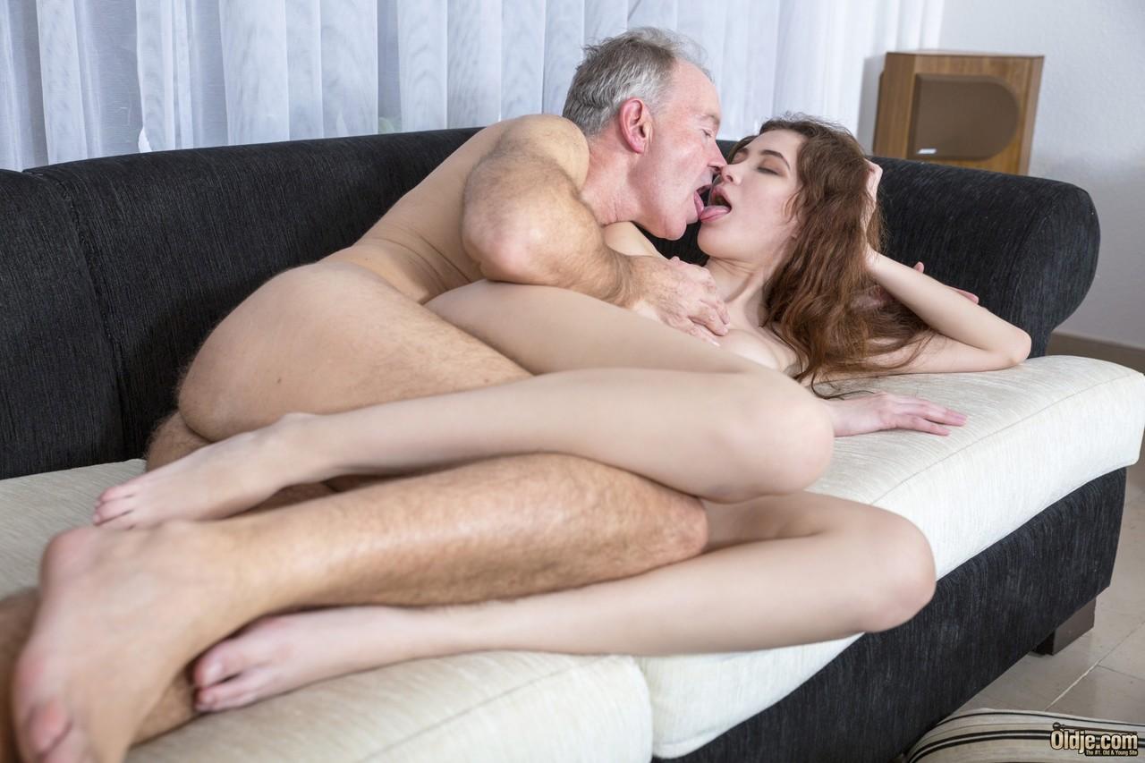 Teen nurse Gisha Forza massages an old businessmans back before fucking him