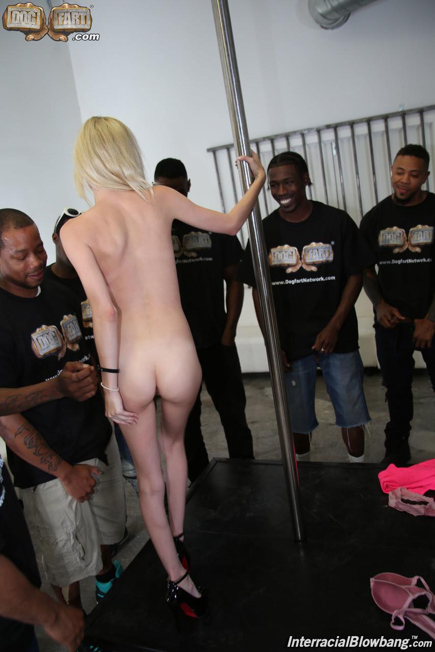 Horny blonde MILF Piper Perri takes messy facial cumshots in a wild blowbang