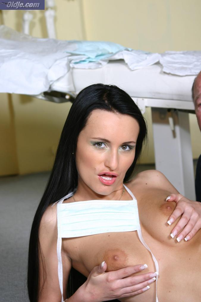 Dark haired nurse Claudia Adams engages a male patient in old-and-young sex