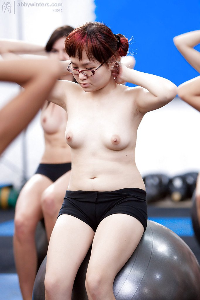 Teen girls stripping naked during workout and flashing all natural tits